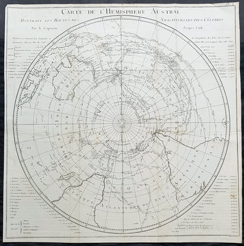 1778 Capt James Cook Antique Map The Southern Hemisphere, Australia, Antarctica