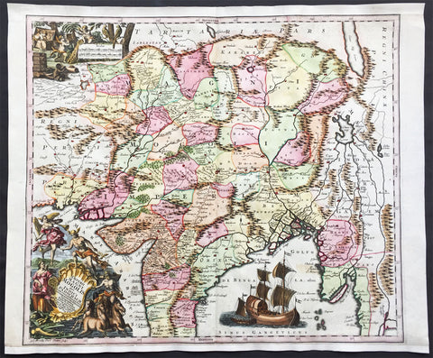 1740 Seutter Large Antique Map of India, Mughal Empire, Tibet, Nepal