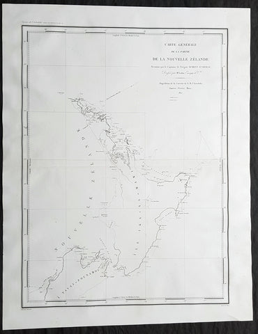 1827 D Urville Large Antique Map of The North Island of New Zealand