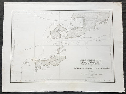 1803 Louis Freycinet Antique Map of The Islands of Timor, Samau & Rote Indonesia