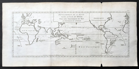1771 Bouganville Large Antique World Map - Global Route of Exploration