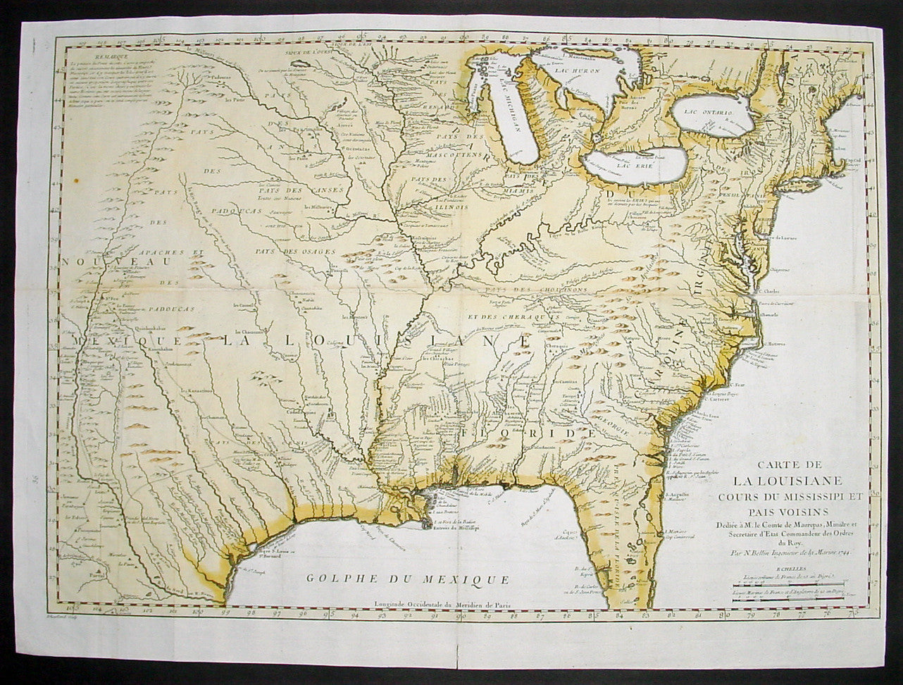 1744 Bellin Large Antique Map Of The Colonial United States