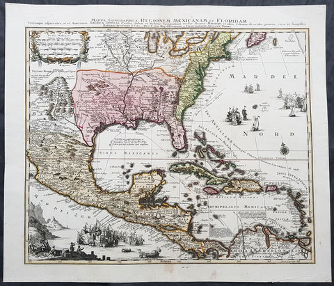 1730 Matthaus Seutter Large Antique Map of British, French Spanish North America