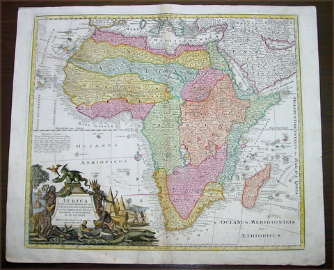 1730 Seutter Large Antique Map of Africa