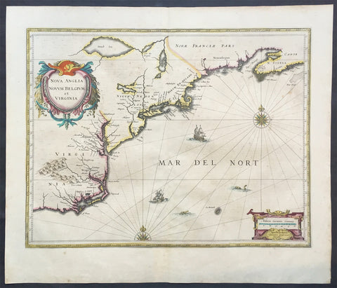 1639 Jansson Antique Map of Virginia, Chesapeake & NE United States of America