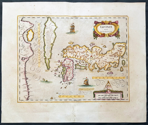 1639 Jansson & Hondius Large Antique Map of Japan, Korea & China - Japoniae Nova Descriptio