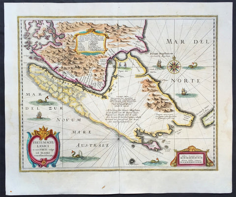 1639 Hondius Antique Map of Magellan Straits, South America