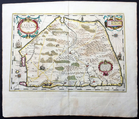 1639 Mercator Hondius Antique Map of Sri Lanka, India - Ceylon