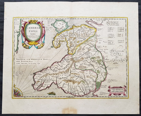 1639 Mercator & Hondius Large Old, Antique Map of Wales, GB - Humphrey Llwyd