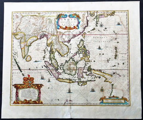 1639 Hondius Antique Map of Australia, East Indies, India to China - Duyfken