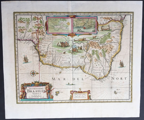 1639 Hondius Antique Map of Brazil, South America