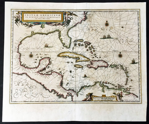 1639 Jansson Large Old, Antique Map of America Gulf of Mexico, Virginia to Texas, Caribbean