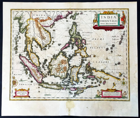 1639 Jansson Large Old, Antique Map of East Indies, Australia - Voyage of Dufken