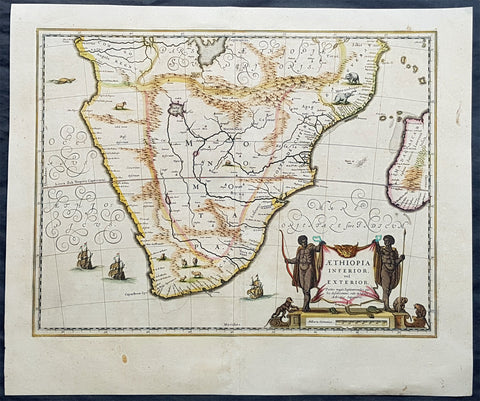 1639 Jan Jansson Large Original, Antique Map of South Africa