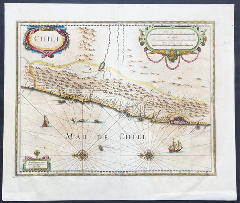 1639 Henricus Hondius Large Old, Antique Map of Chile, South America - Andies