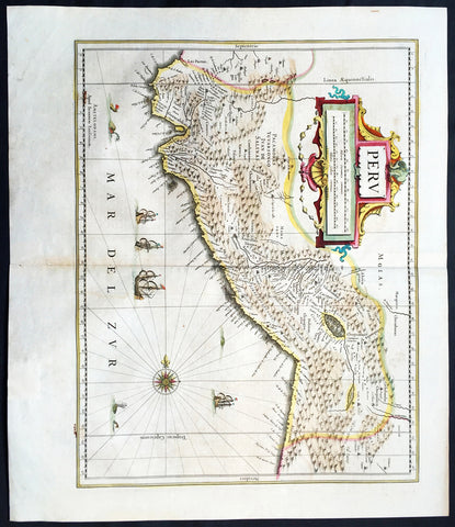 1639 Jan Jansson Antique Map of Peru, South America