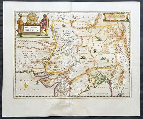 1639 Hondius & Mercator Antique Map Mughal Empire Northern India, Tibet, Nepal