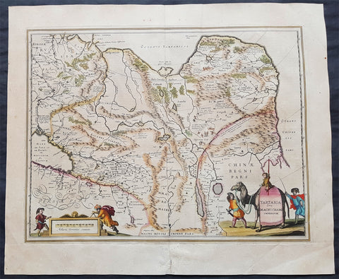 1639 Jansson Large Antique Map of Tartary, Siberian Russia, China, Central Asia
