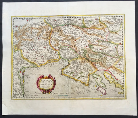 1639 Mercator Hondius Antique Map of Gulf of Venice, Istra, Italy, Slovenia
