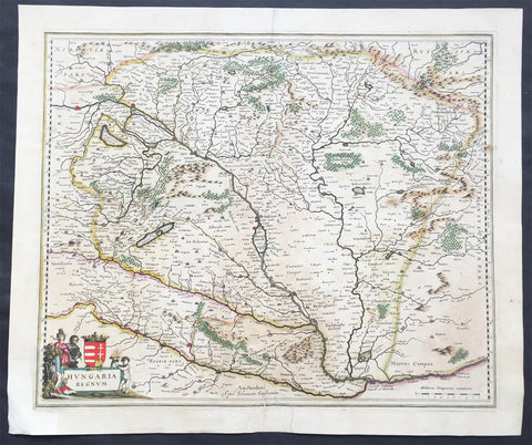 1639 Jansson Large Antique Map of Hungary