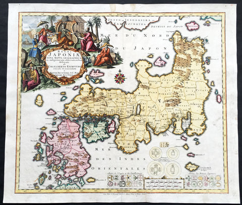 1730 Seutter Large Antique Map of Japan after Kaempfer - Regni Japoniae