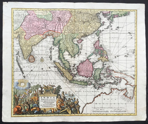 1730 George Seutter Large Antique Map of Australia, East Indies, SE Asia, China
