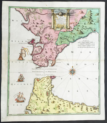 1730 Homann Large Antique Map Straits of Gibraltar Cadiz, Morocco, Malaga, Spain
