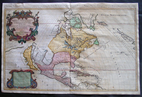 1692 Jaillot Large Antique Map of North America