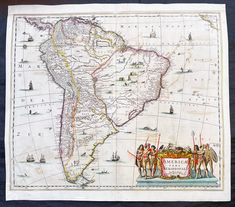 1639 Henricus Hondius Large Antique Map of South America - Beautiful