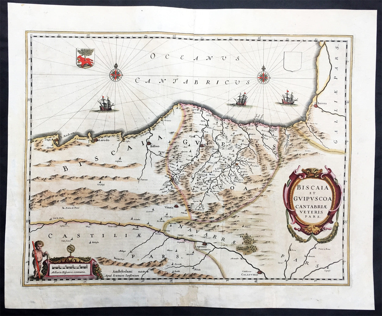 1639 Mercator Hondius Large Antique Map of Basque Region of Spain