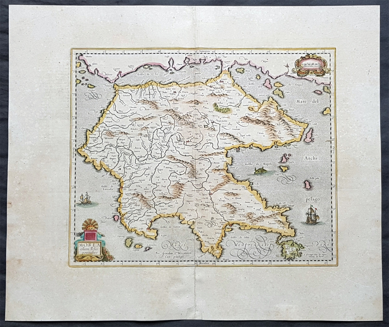 1639 Hondius Mercator Antique Map of Morea The Greek Peloponnese