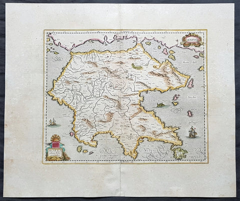 1639 Hondius & Mercator Antique Map of Morea The Greek Peloponnese