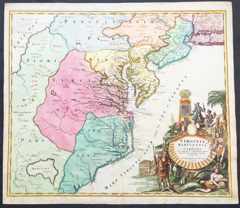 1715 Homann Antique Map of Virginia, Chesapeake & NE United States of America