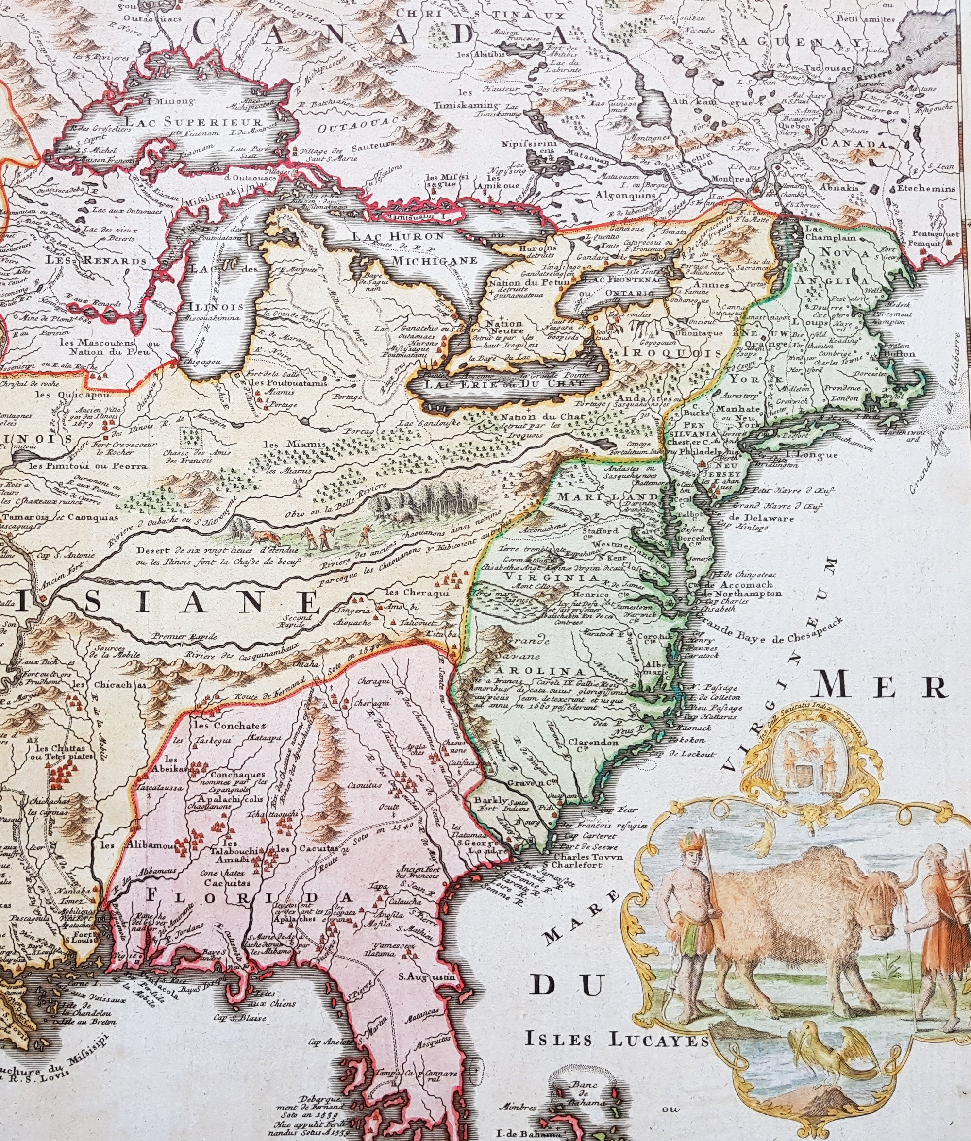 Homann Large Old Antique Map Of North America Louisiana - Map of north louisiana