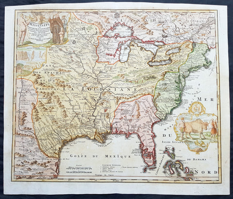 1720 Homann Large Old, Antique Map of North America, Louisiana, Mississippi, Buffalo Map