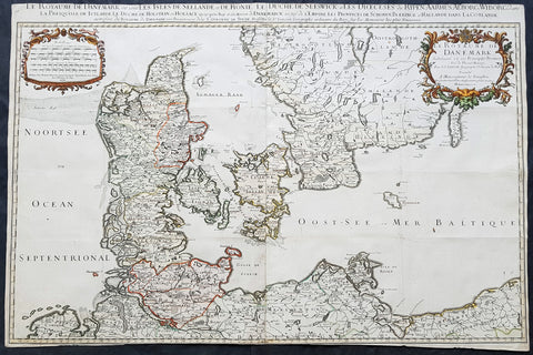 1674 Jaillot & Sanson Very Large Antique Map of Denmark & Southern Sweden