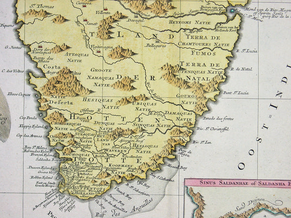 1760 Lotter Large Antique Map of Southern Africa ...