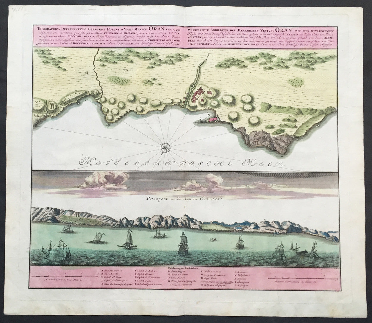1735 Homann Large Antique Map of Oran, Algeria, North Africa ...