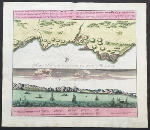 1735 Homann Large Antique Map of Oran, Algeria, North Africa
