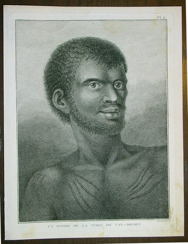1785 Capt. Cook Antique Print Aboriginal Man of Bruny Island, Tasmania in 1777