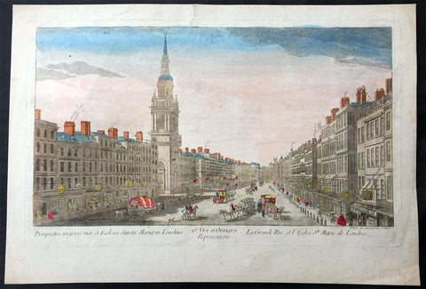 1760 Vue D Optic Large Antique Print View of Cheapside, London St Mary le Bow