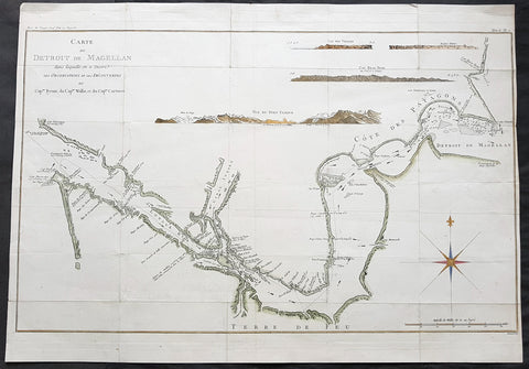 1774 Hawkesworth Large Antique Map Chart of The Magellan Straits, South America