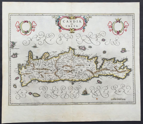 1642 Blaeu Antique Map of the Greek Island of Crete