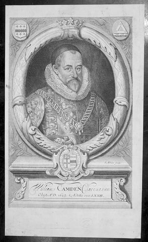1695 Richard White Original Antique Portrait of William Camden - Britannia