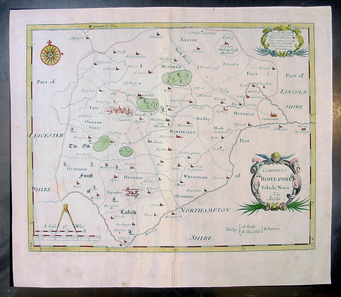 1695 Morden Antique Map The English County of Rutland
