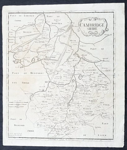 1722 Robert Morden Antique Map of Huntington in County of Cambridgeshire England