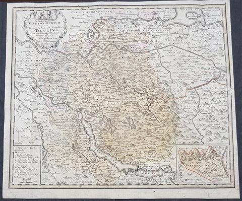 1765 Homann Large Antique Map of The Zurich Canton, Switzerland - Tigurini