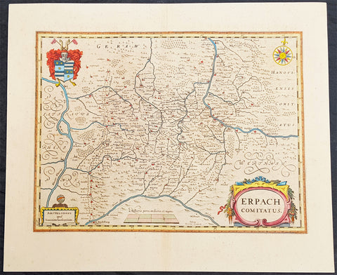1646 Jan Jansson Large Old, Antique Map of the Erbach Region, Hessen, Germany
