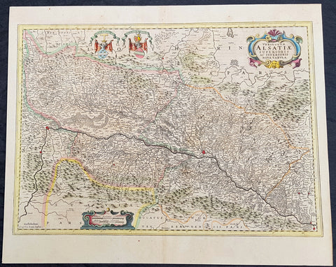 1646 Jan Jansson Antique Map of the Alsace region of France - Germany & Swiss
