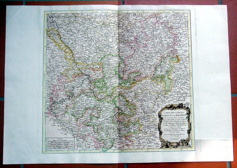 1777 Santini Large Antique Map Lower Rhine, West Germany, Cologne to Frankfurt